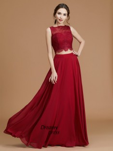 A-Line Bateau Floor-Length Chiffon Bridesmaid Dress