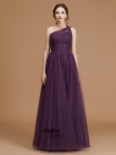 A-Line One-Shoulder Floor-Length Tulle Bridesmaid Dress