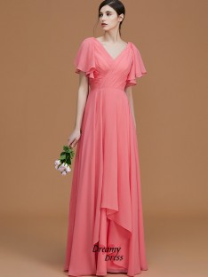 A-Line/Princess V-neck Floor-Length Ruched Chiffon Bridesmaid Dress