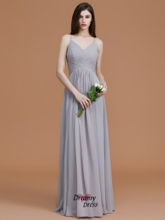 A-Line/Princess Spaghetti Straps Floor-Length Ruched Chiffon Bridesmaid Dress