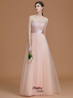 A-Line/Princess Bateau Floor-Length Applique Tulle Bridesmaid Dress