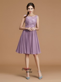 A-Line Bateau Short/Mini Chiffon Bridesmaid Dress