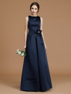 A-Line Bateau Floor-Length Satin Bridesmaid Dress