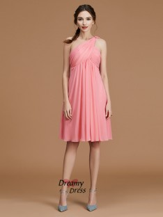 A-Line One-Shoulder Short/Mini Chiffon Bridesmaid Dress