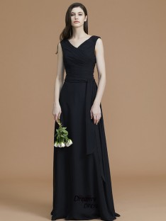 A-Line/Princess V-neck Floor-Length Sash/Ribbon/Belt Chiffon Bridesmaid Dress
