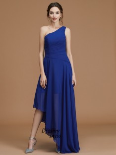 A-Line One-Shoulder Asymmetrical Chiffon Bridesmaid Dress