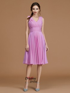 A-Line V-neck Short/Mini Chiffon Bridesmaid Dress