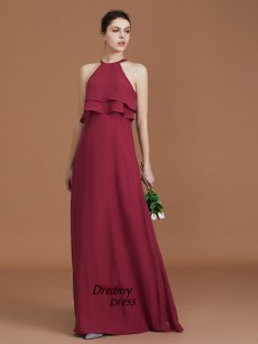 A-Line Scoop Floor-Length Chiffon Bridesmaid Dress Ruffles