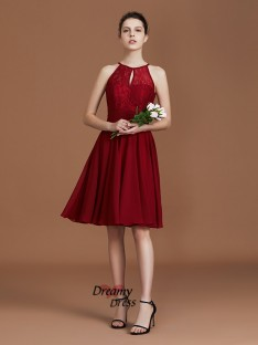 A-Line Shalter Knee-Length Chiffon Bridesmaid Dress