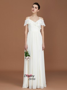 A-Line Spaghetti Straps V-neck Floor-Length Chiffon Bridesmaid Dress