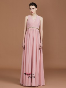 A-Line Floor-Length Chiffon V-neck Bridesmaid Dress