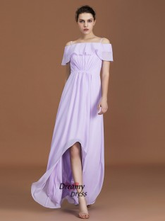 A-Line Asymmetrical Off-the-Shoulder Chiffon Bridesmaid Dress
