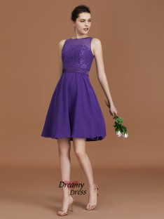 A-Line Knee-Length Bateau Chiffon Bridesmaid Dress