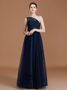 A-Line One-Shoulder Tulle Floor-Length Bridesmaid Dress