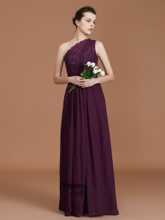 A-Line One-Shoulder Chiffon Floor-Length Bridesmaid Dress