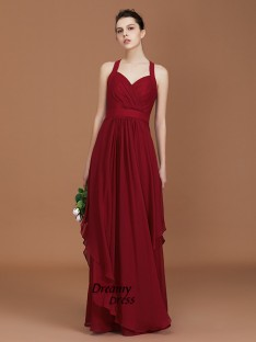A-Line Straps Chiffon Floor-Length Bridesmaid Dress