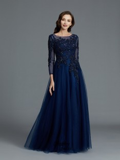 A-Line/Princess Scoop Beading Floor-Length Tulle Mother of the Bride Dress