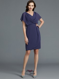 Sheath/Column V-neck Chiffon Knee-Length Mother of the Bride Dress