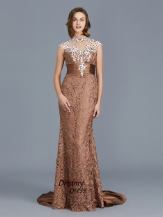 Mermaid Scoop Lace Floor-Length Mother of the Bride Dress