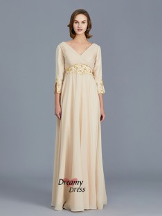 A-Line V-neck Chiffon Floor-Length Mother of the Bride Dress
