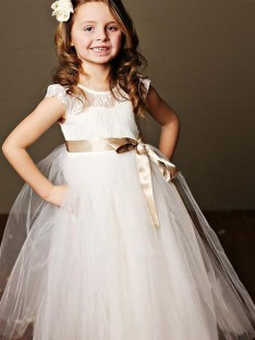 Ball Gown Scoop Floor-Length Bowknot Tulle Flower Girl Dress