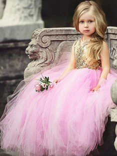 Ball Gown Scoop Floor-Length Sequin Tulle Flower Girl Dress