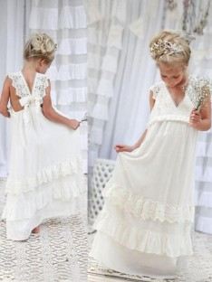 Empire V-neck Floor-Length Lace Chiffon Flower Girl Dress