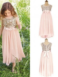 A-Line Scoop Tea-Length Sequin Chiffon Flower Girl Dress