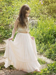 A-Line Scoop Floor-Length Sequin Chiffon Flower Girl Dress