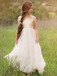 A-Line Scoop Floor-Length Sequin Tulle Flower Girl Dress