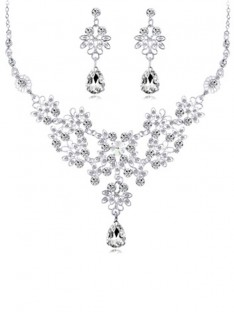 Alloy with Crystal Wedding Bridal Jewelry Set