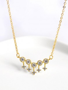 Silver Ladies Necklaces with Rhinestone