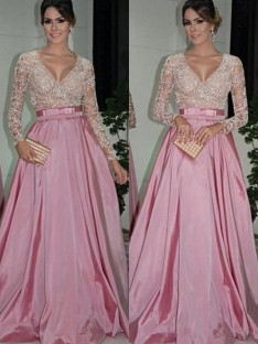 A-Line Long Sleeves V-neck Floor-Length Lace Satin Dress
