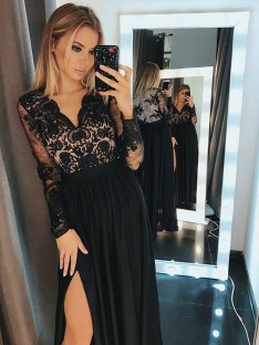 A-Line Long Sleeves V-neck Floor-Length Chiffon Dress