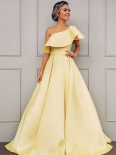 A-Line One-Shoulder Floor-Length Satin Dress
