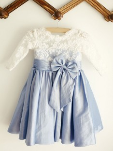 A-Line Scoop Lace Taffeta Knee-Length Flower Girl Dress