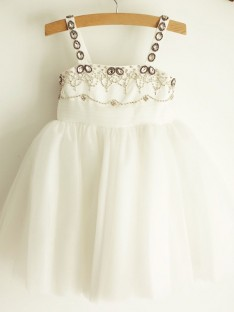 A-Line Straps Tulle Knee-Length Flower Girl Dress