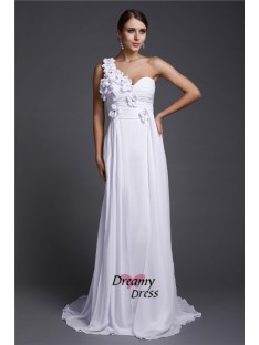 A-Line One Shoulder Long Chiffon Dress