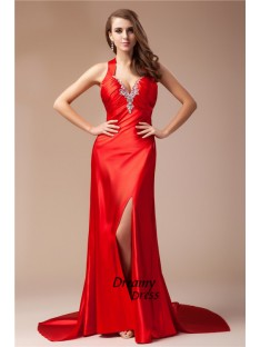Sheath V-neck Long Elastic Woven Satin Dress