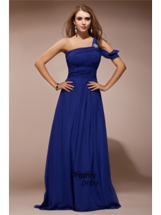 Sheath One Shoulder Long Chiffon Dress