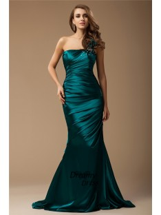 Mermaid One Shoulder Long Elastic Woven Satin Dress
