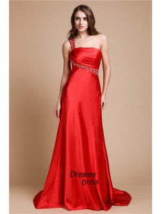 A-Line One Shoulder Long Elastic Woven Satin Dress