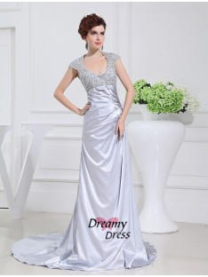 A-Line Scoop Long Lace Elastic Woven Satin Dress