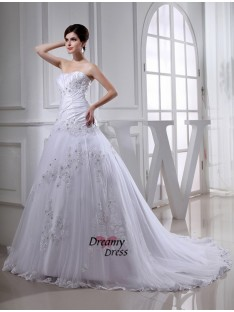 A-Line/Princess Chapel Train Strapless Tulle Taffeta Wedding Dress