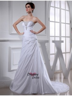 A-Line/Princess Court Train Taffeta Wedding Dress