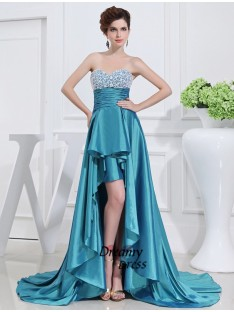 A-Line Sweetheart High Low Taffeta Dress