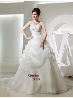 Ball Gown Chapel Train Organza Wedding Dress