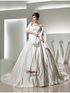 Ball Gown Chapel Train Strapless Satin Wedding Dress