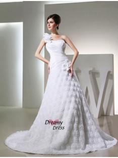 A-Line/Princess One-shoulder Taffeta Cathedral Train Wedding Dress