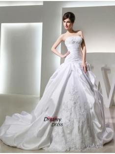 Ball Gown Chapel Train Satin Strapless Wedding Dress